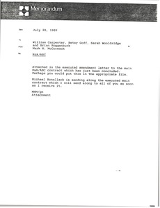Thumbnail of Memorandum from Mark H. McCormack to William Carpenter, Betsy Goff, Sarah             Wooldridge, and Brian Roggenburk