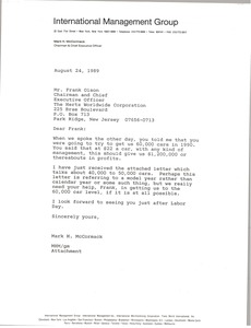 Thumbnail of Letter from Mark H. McCormack to Frank Olson