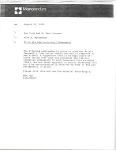 Thumbnail of Memorandum from Mark H. McCormack to Ian Todd and H. Kent Stanner