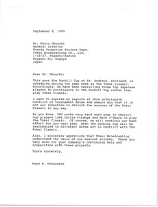 Thumbnail of Letter from Mark H. McCormack to Kuni Okouchi