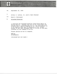 Thumbnail of Memorandum from Mark H. McCormack to Arthur J. Lafave Jr.
