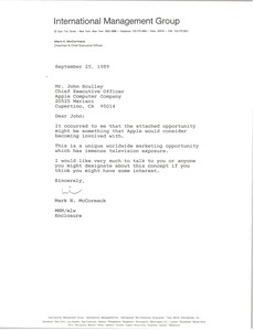 Thumbnail of Letter from Mark H. McCormack to John Sculley