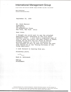 Letter from Mark H. McCormack to Dick Ebersol