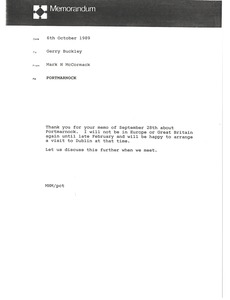 Thumbnail of Memorandum from Mark H. McCormack to Gerry Buckley