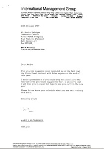 Thumbnail of Letter from Mark H. McCormack to Andre Heiniger
