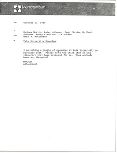 Thumbnail of Memorandum from Mark H. McCormack to Hughes Norton, Peter Johnson, Doug Pirnie,             H. Kent Stanner, Barry Frank and Jim Bukata