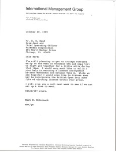 Thumbnail of Letter from Mark H. McCormack to E. O. Hand