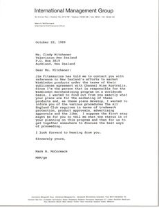 Thumbnail of Letter from Mark H. McCormack to Cindy Mitchener