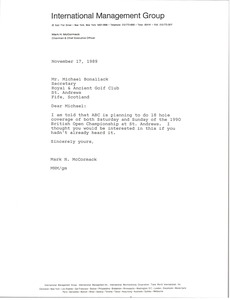 Thumbnail of Letter from Mark H. McCormack to Micheal Bonallack