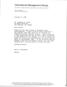 Thumbnail of Letter from Mark H. McCormack to Stephen E. Clark