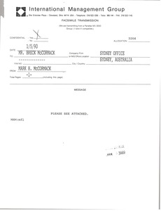Thumbnail of Fax from Mark H. McCormack to Breck McCormack