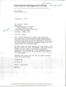 Thumbnail of Letter from Mark H. McCormack to Shoichi Asami