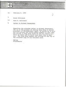 Thumbnail of Memorandum from Mark H. McCormack to Breck McCormack