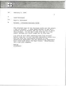 Thumbnail of Memorandum from Mark H. McCormack to Todd McCormack