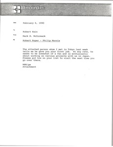 Thumbnail of Memorandum from Mark H. McCormack to Robert Kain