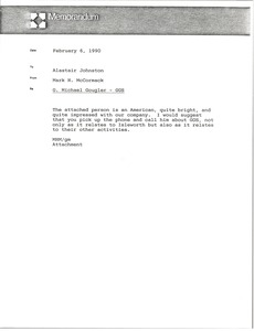 Thumbnail of Memorandum from Mark H. McCormack to Alastair Johnston