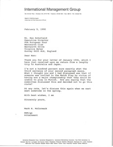 Thumbnail of Letter from Mark H. McCormack to Ken Schofield