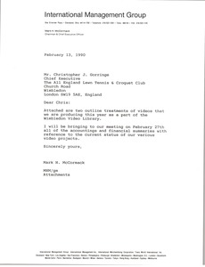 Thumbnail of Letter from Mark H. McCormack to Christopher J. Gorringe