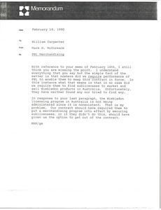 Thumbnail of Memorandum from Mark H. McCormack to William Carpenter