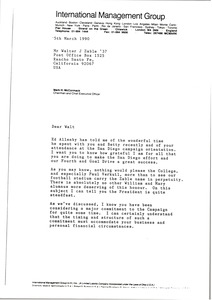 Thumbnail of Letter from Mark H. McCormack to Walter J. Zable