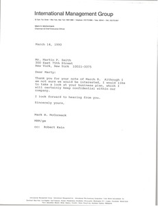 Thumbnail of Letter from Mark H. McCormack to Martin P. Smith