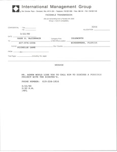 Thumbnail of Fax from Michelle Lane to Mark H. McCormack