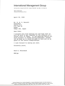 Thumbnail of Letter from Mark H. McCormack to M. W. O. Garrett