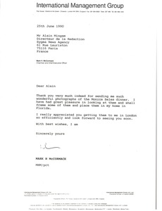Thumbnail of Letter from Mark H. McCormack to Alain Mingam
