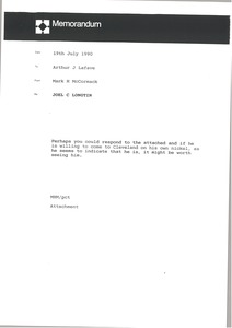 Thumbnail of Memorandum from Mark H. McCormack to Arthur J. Lafave