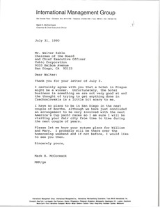 Thumbnail of Letter from Mark H. McCormack to Walter Zable