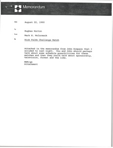 Thumbnail of Memorandum from Mark H. McCormack to Hughes Norton