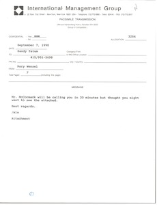 Thumbnail of Fax from Mary Wenzel to Sandy Tatum
