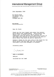 Thumbnail of Letter from Mark H. McCormack to David Clark