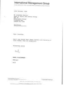 Thumbnail of Letter from Mark H. McCoramck to Jonathan Martin