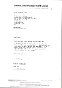 Thumbnail of Letter from Mark H. McCormack to W. Barry Adams