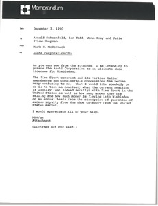 Thumbnail of Memorandum from Mark H. McCormack to Arnold Schoenfeld, Ian Todd, John Oney and             Julie Ivlaw-Chapman