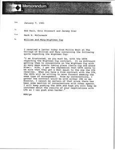 Thumbnail of Memorandum from Mark H. McCormack to Bob Kain, Eric Drossart and Jeremy Dier