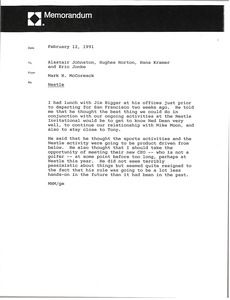 Thumbnail of Memorandum from Mark H. McCormack to Alastair Johnston, Hughes Norton, Hans             Kramer and Eric Jonke
