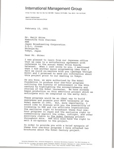 Thumbnail of Letter from Mark H. McCormack to Keiji Shima