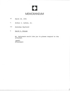 Thumbnail of Memorandum from Gretchen Mayfield to Arthur J. Lafave Jr.