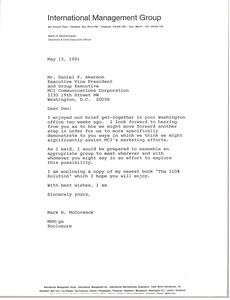 Thumbnail of Letter from Mark H. McCormack to Daniel F. Akerson