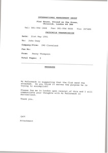 Thumbnail of Fax from Penny Thompson to John Oney