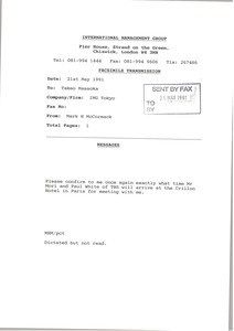 Thumbnail of Fax from Mark H. McCormack to Takeo Masaoka