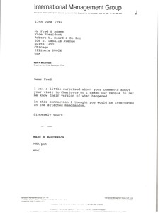 Thumbnail of Letter from Mark H. McCormack to Fred E. Adams