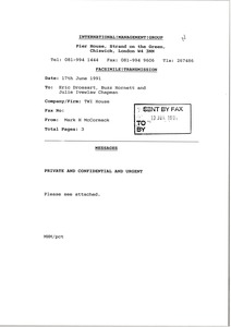 Thumbnail of Fax from Mark H. McCormack to Eric Drossart, Buzz Hornett and Julie Ivelaw             Chapman