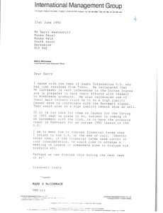 Thumbnail of Letter from Mark H. McCormack to Barry Weatherill