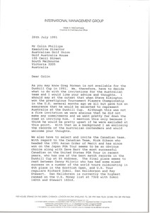 Thumbnail of Letter from Mark H. McCormack to Colin Phillips