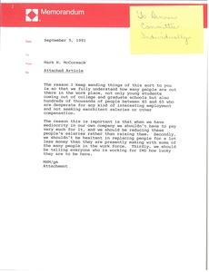 Thumbnail of Memorandum from Mark H. McCormack concerning an article