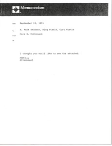 Thumbnail of Memorandum from Mark H. McCormack to H. Kent Stanner, Doug Pirnie and Curt             Curtis