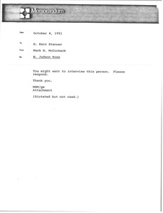 Thumbnail of Memorandum from Mark H. McCormack to H. Kent Stanner